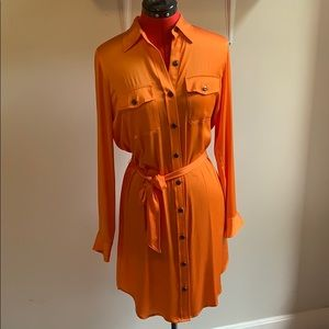 Lauren by Ralph Lauren, orange button up dress